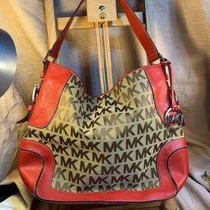 Michael Kors leather/canvas shoulder/satchel